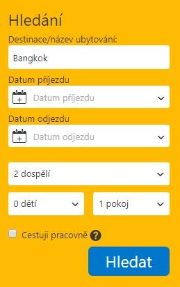 Vyhledávací pole na Booking.com