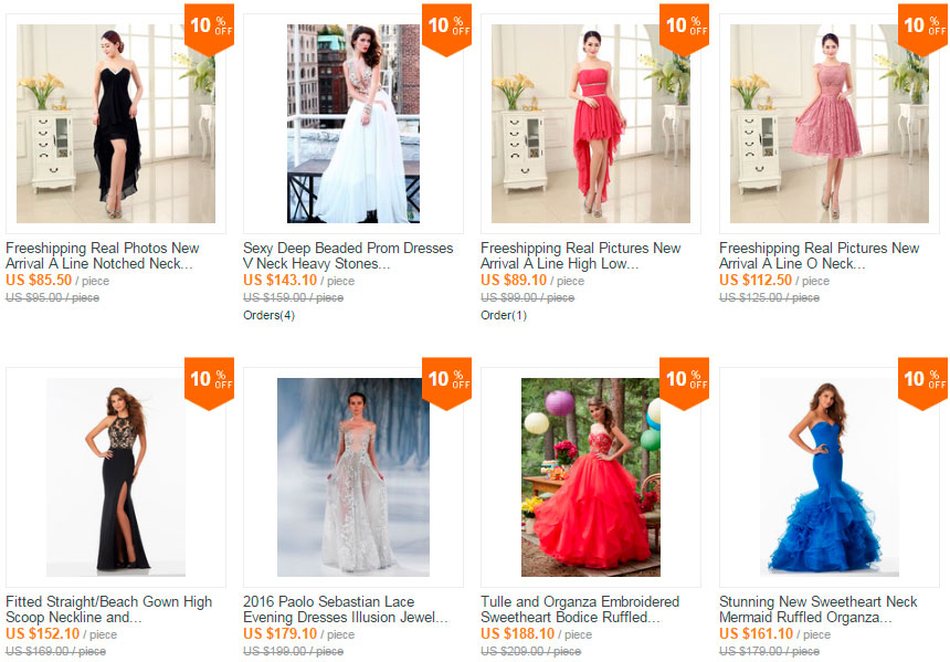 Prom dresses on Aliexpress