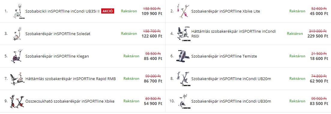 Szobakerékpár árak