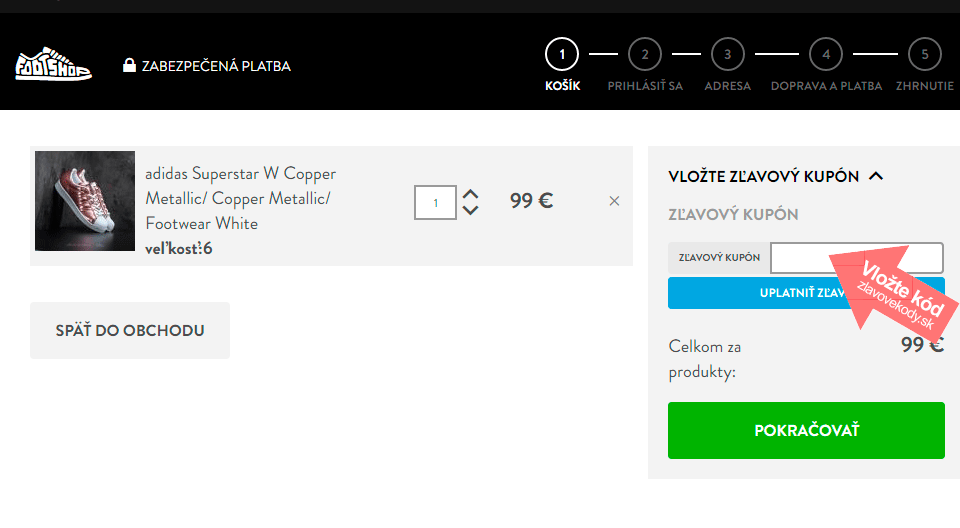 Ako uplatniť kód na Footshop.sk d9f564b859d