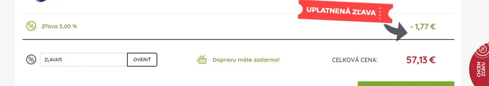 0e4ed9eda Po kliknutí na Overiť sa zľava automaticky odráta z celkovej hodnoty  objednávky Uplatnený zľavový kupón v košíku