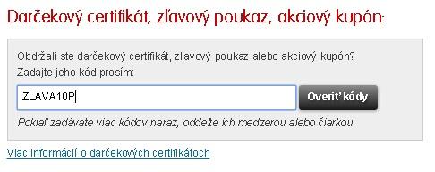 Políčko na zľavový kód na Mall.sk