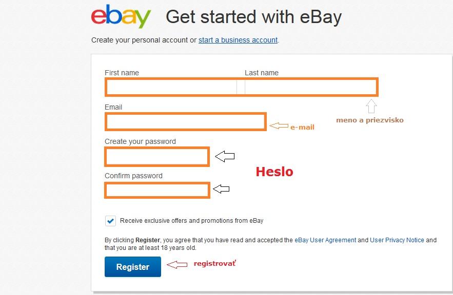 registracia ebay