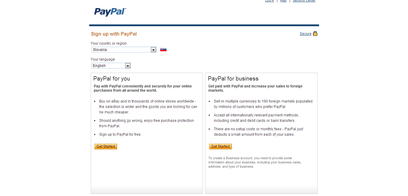 Registrácia na PayPal