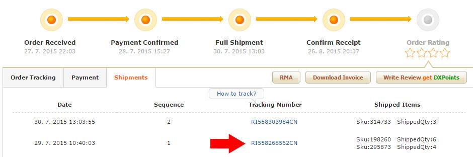 Sledovacie číslo na zásielku z DX.com